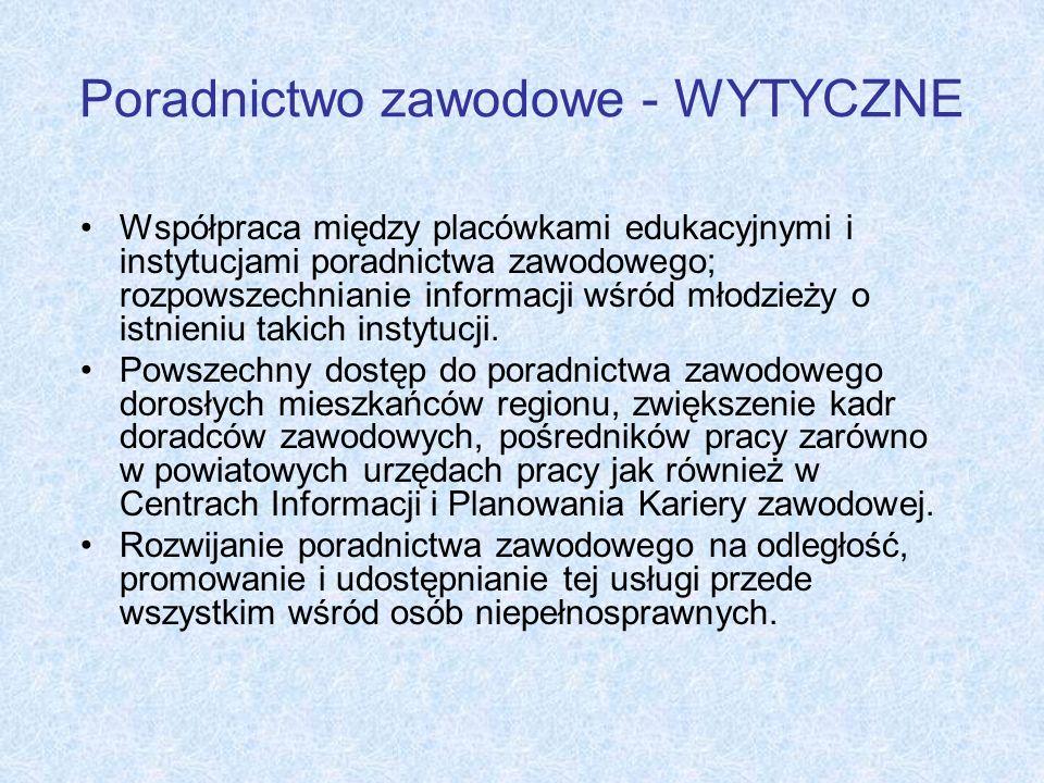 Poradnictwo zawodowe - WYTYCZNE Współpraca między placówkami edukacyjnymi i instytucjami poradnictwa zawodowego; rozpowszechnianie informacji wśród mł
