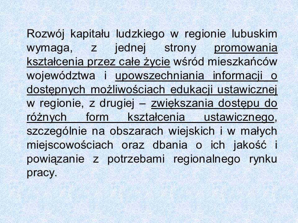 Rozwój kapitału ludzkiego w regionie lubuskim wymaga, z jednej strony promowania kształcenia przez całe życie wśród mieszkańców województwa i upowszec