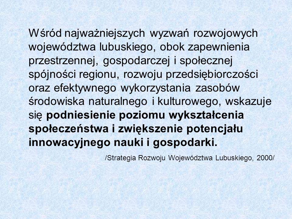 Wśród najważniejszych wyzwań rozwojowych województwa lubuskiego, obok zapewnienia przestrzennej, gospodarczej i społecznej spójności regionu, rozwoju