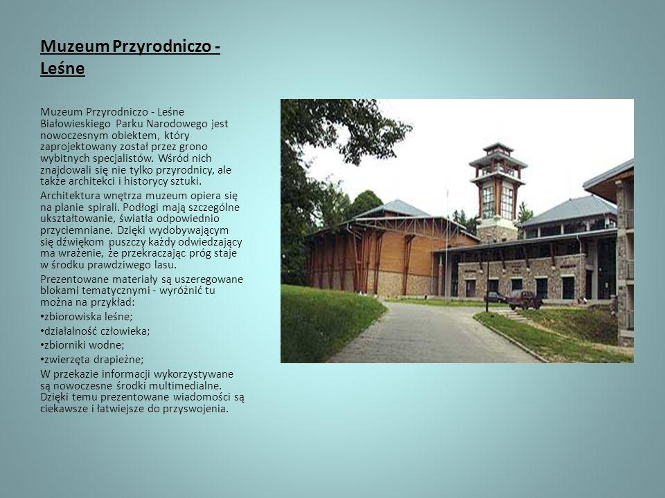 Muzeum Przyrodniczo - Leśne Muzeum Przyrodniczo - Leśne Białowieskiego Parku Narodowego jest nowoczesnym obiektem, który zaprojektowany został przez g