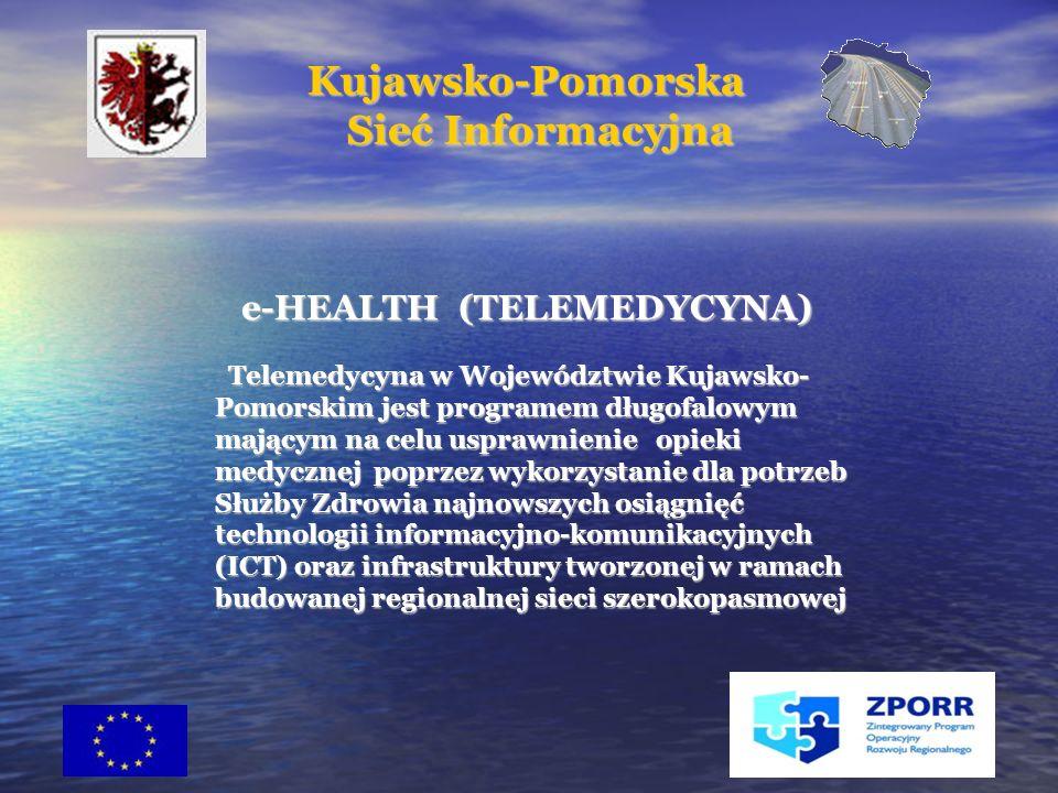 21 e-HEALTH (TELEMEDYCYNA) e-HEALTH (TELEMEDYCYNA) Telemedycyna w Województwie Kujawsko- Pomorskim jest programem długofalowym mającym na celu usprawnienie opieki medycznej poprzez wykorzystanie dla potrzeb Służby Zdrowia najnowszych osiągnięć technologii informacyjno-komunikacyjnych (ICT) oraz infrastruktury tworzonej w ramach budowanej regionalnej sieci szerokopasmowej Telemedycyna w Województwie Kujawsko- Pomorskim jest programem długofalowym mającym na celu usprawnienie opieki medycznej poprzez wykorzystanie dla potrzeb Służby Zdrowia najnowszych osiągnięć technologii informacyjno-komunikacyjnych (ICT) oraz infrastruktury tworzonej w ramach budowanej regionalnej sieci szerokopasmowej Kujawsko-Pomorska Kujawsko-Pomorska Sieć Informacyjna Sieć Informacyjna