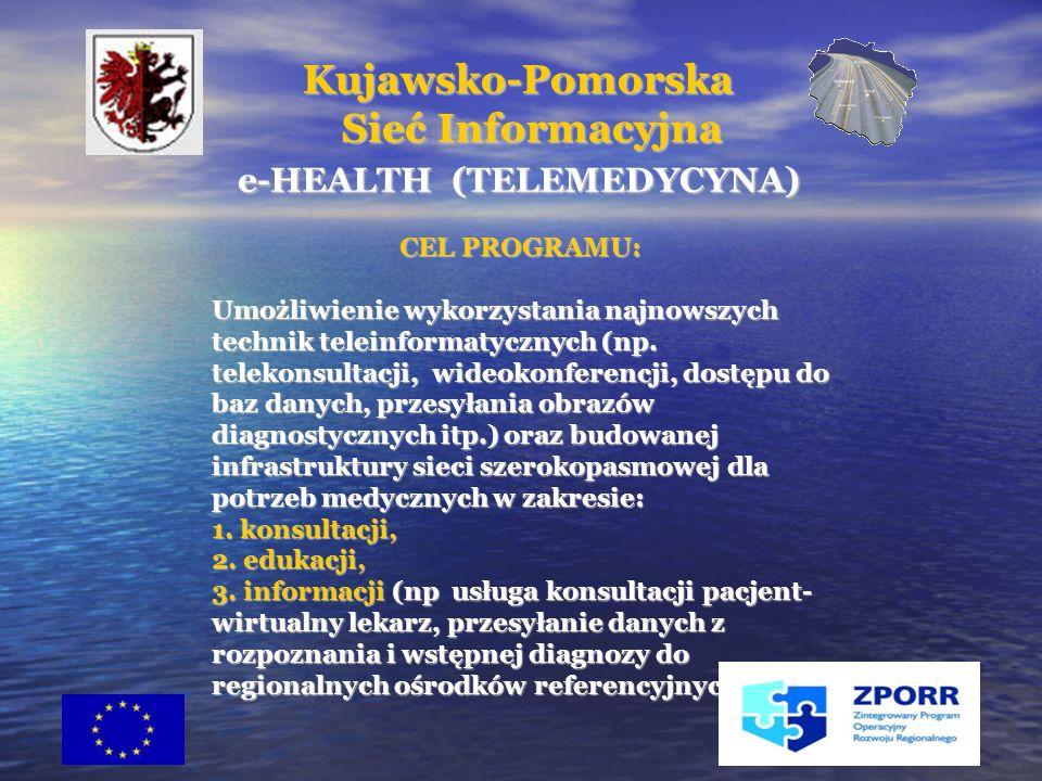 22 e-HEALTH (TELEMEDYCYNA) e-HEALTH (TELEMEDYCYNA) CEL PROGRAMU: CEL PROGRAMU: Umożliwienie wykorzystania najnowszych technik teleinformatycznych (np.