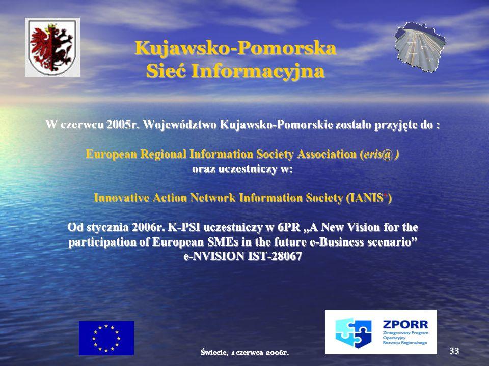 Świecie, 1 czerwca 2006r. 33 Kujawsko-Pomorska Sieć Informacyjna W czerwcu 2005r.