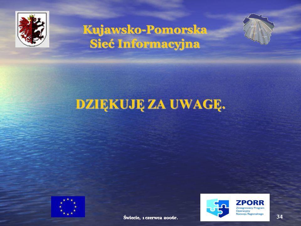 Świecie, 1 czerwca 2006r. 34 Kujawsko-Pomorska Sieć Informacyjna DZIĘKUJĘ ZA UWAGĘ.
