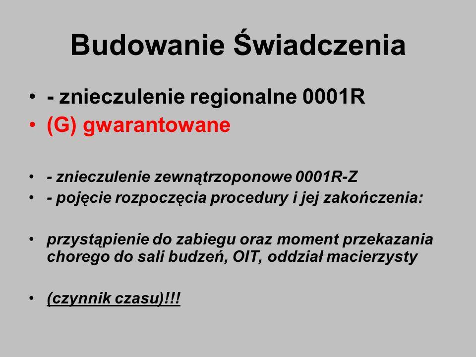 Budowanie Świadczenia - znieczulenie regionalne 0001R (G) gwarantowane - znieczulenie zewnątrzoponowe 0001R-Z - pojęcie rozpoczęcia procedury i jej za