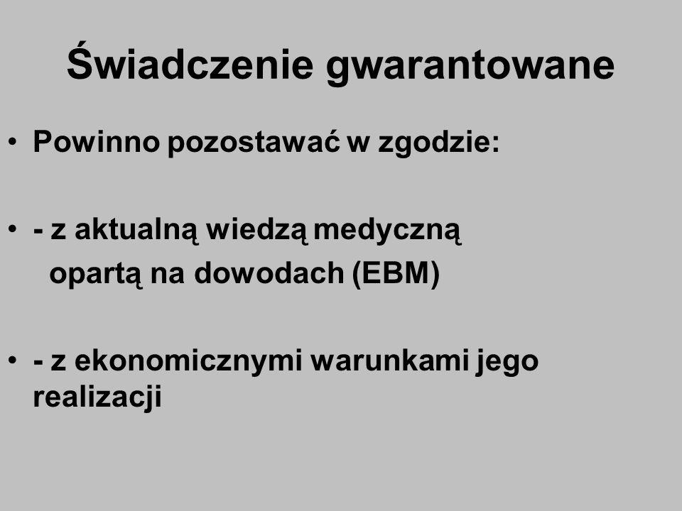Świadczenie gwarantowane Powinno pozostawać w zgodzie: - z aktualną wiedzą medyczną opartą na dowodach (EBM) - z ekonomicznymi warunkami jego realizac