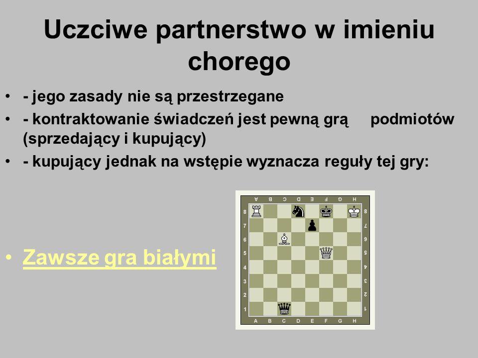 Uczciwe partnerstwo w imieniu chorego - jego zasady nie są przestrzegane - kontraktowanie świadczeń jest pewną grą podmiotów (sprzedający i kupujący)
