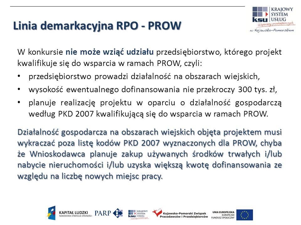 W konkursie nie może wziąć udziału przedsiębiorstwo, którego projekt kwalifikuje się do wsparcia w ramach PROW, czyli: przedsiębiorstwo prowadzi działalność na obszarach wiejskich, wysokość ewentualnego dofinansowania nie przekroczy 300 tys.