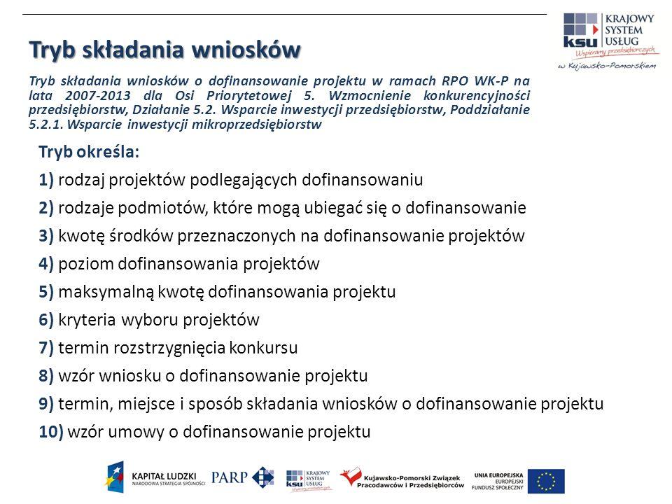 Tryb określa: 1) rodzaj projektów podlegających dofinansowaniu 2) rodzaje podmiotów, które mogą ubiegać się o dofinansowanie 3) kwotę środków przeznaczonych na dofinansowanie projektów 4) poziom dofinansowania projektów 5) maksymalną kwotę dofinansowania projektu 6) kryteria wyboru projektów 7) termin rozstrzygnięcia konkursu 8) wzór wniosku o dofinansowanie projektu 9) termin, miejsce i sposób składania wniosków o dofinansowanie projektu 10) wzór umowy o dofinansowanie projektu Tryb składania wniosków Tryb składania wniosków o dofinansowanie projektu w ramach RPO WK-P na lata 2007-2013 dla Osi Priorytetowej 5.