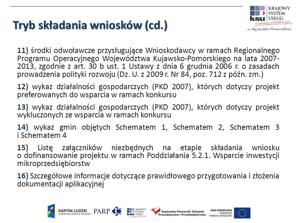 11) środki odwoławcze przysługujące Wnioskodawcy w ramach Regionalnego Programu Operacyjnego Województwa Kujawsko-Pomorskiego na lata 2007- 2013, zgodnie z art.