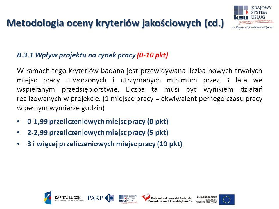 B.3.1 Wpływ projektu na rynek pracy (0-10 pkt) W ramach tego kryteriów badana jest przewidywana liczba nowych trwałych miejsc pracy utworzonych i utrz