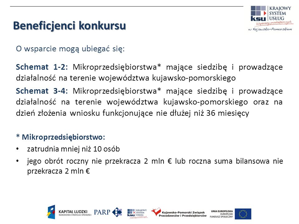 Beneficjenci konkursu O wsparcie mogą ubiegać się: Schemat 1-2: Mikroprzedsiębiorstwa* mające siedzibę i prowadzące działalność na terenie województwa kujawsko-pomorskiego Schemat 3-4: Mikroprzedsiębiorstwa* mające siedzibę i prowadzące działalność na terenie województwa kujawsko-pomorskiego oraz na dzień złożenia wniosku funkcjonujące nie dłużej niż 36 miesięcy * Mikroprzedsiębiorstwo: zatrudnia mniej niż 10 osób jego obrót roczny nie przekracza 2 mln lub roczna suma bilansowa nie przekracza 2 mln