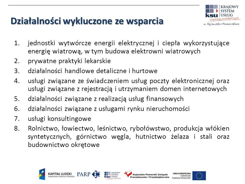 1.jednostki wytwórcze energii elektrycznej i ciepła wykorzystujące energię wiatrową, w tym budowa elektrowni wiatrowych 2.prywatne praktyki lekarskie