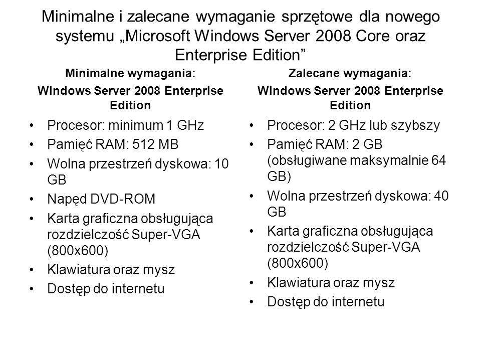 Wymagania dla wersji Windows Server 2008 Core Procesor: 1 GHz Pamięć RAM: 300 MB Wolna przestrzeń dyskowa: ok.