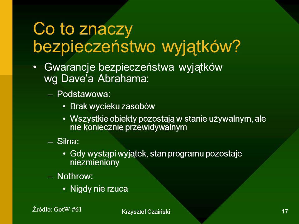 Krzysztof Czaiński 17 Co to znaczy bezpieczeństwo wyjątków? Gwarancje bezpieczeństwa wyjątków wg Davea Abrahama: –Podstawowa: Brak wycieku zasobów Wsz