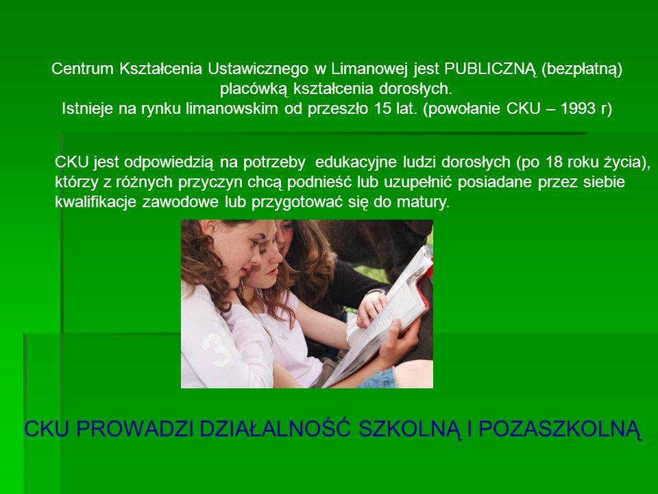 Centrum Kształcenia Ustawicznego w Limanowej jest PUBLICZNĄ (bezpłatną) placówką kształcenia dorosłych. Istnieje na rynku limanowskim od przeszło 15 l