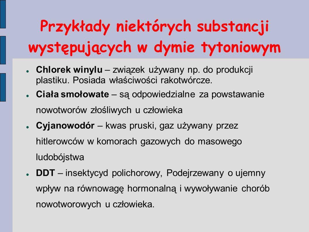 Przykłady niektórych substancji występujących w dymie tytoniowym Chlorek winylu – związek używany np. do produkcji plastiku. Posiada właściwości rakot