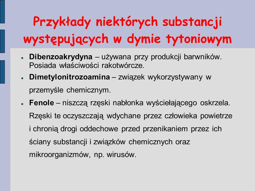 Przykłady niektórych substancji występujących w dymie tytoniowym Dibenzoakrydyna – używana przy produkcji barwników. Posiada właściwości rakotwórcze.