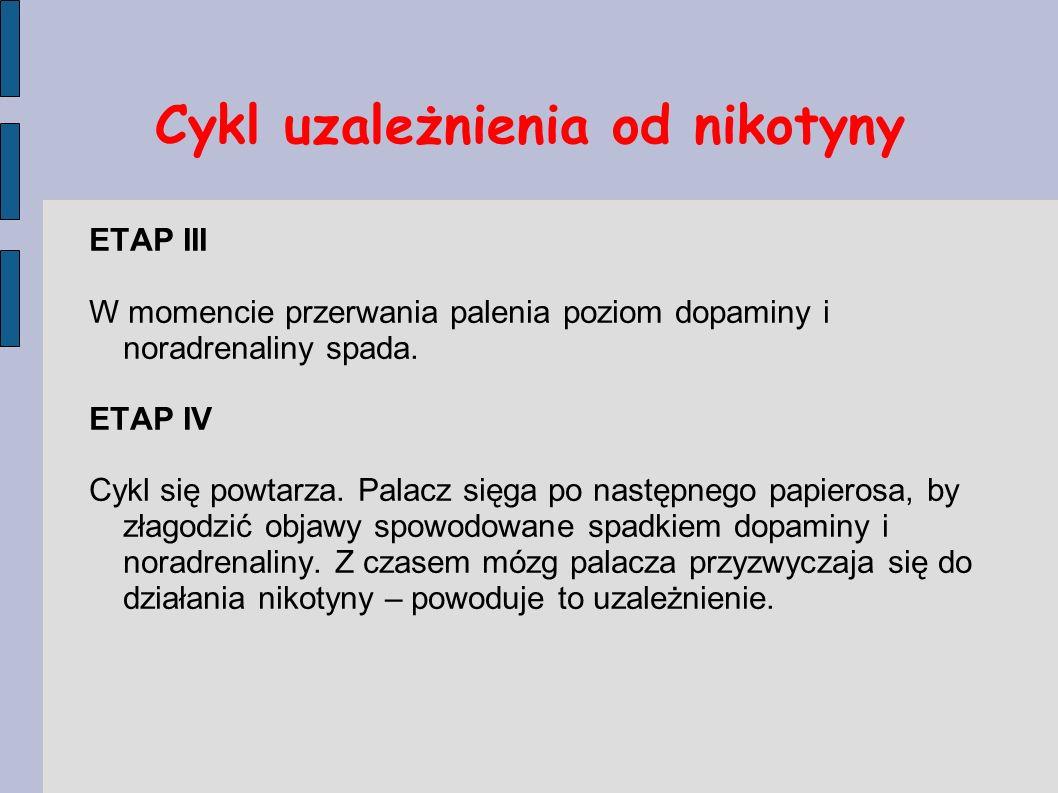 Cykl uzależnienia od nikotyny ETAP III W momencie przerwania palenia poziom dopaminy i noradrenaliny spada. ETAP IV Cykl się powtarza. Palacz sięga po