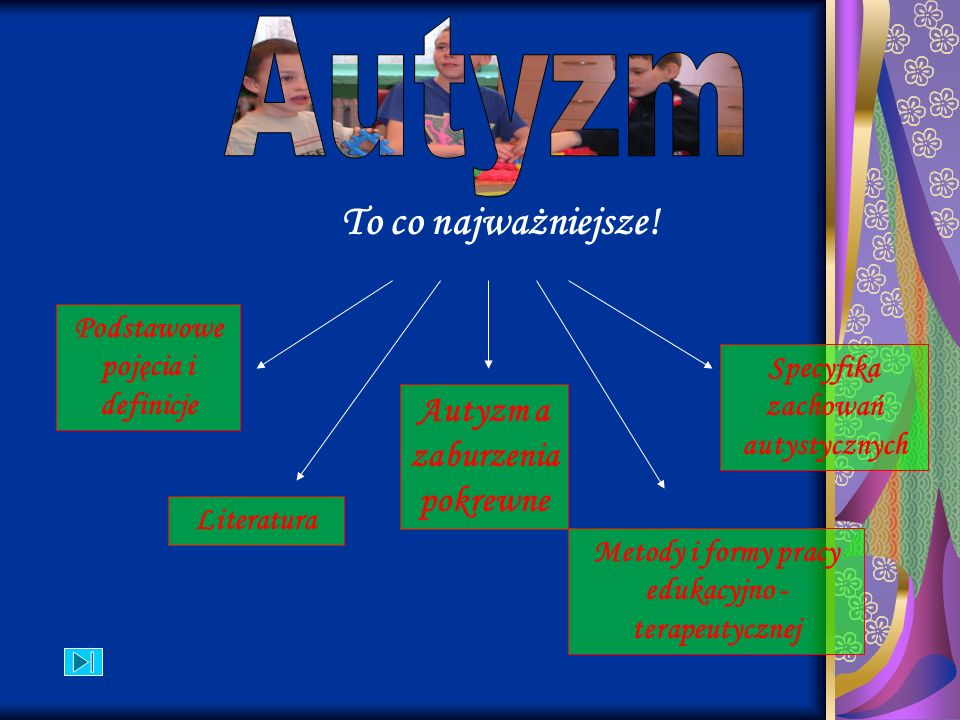 To co najważniejsze! Podstawowe pojęcia i definicje Autyzm a zaburzenia pokrewne Specyfika zachowań autystycznych Literatura Metody i formy pracy eduk