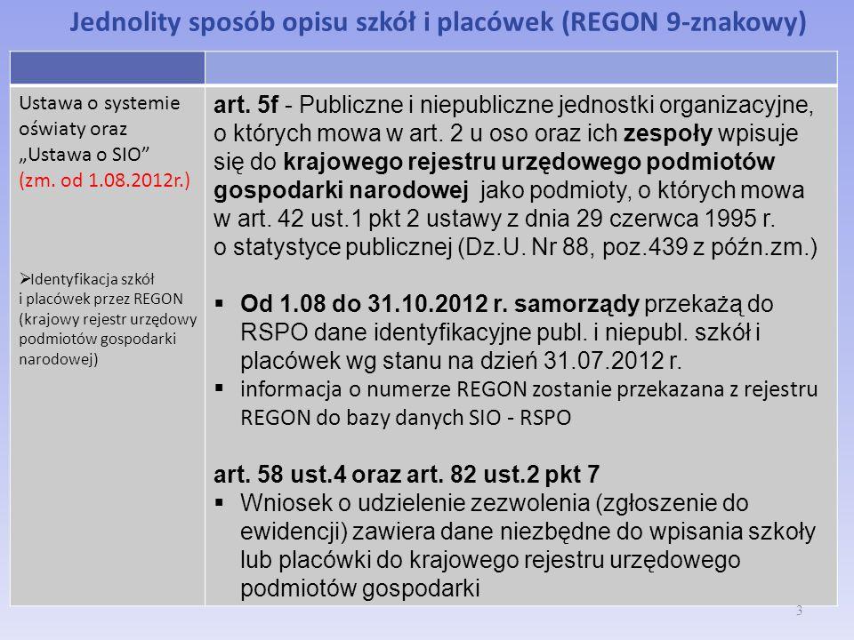 Jednolity sposób opisu szkół i placówek (REGON 9-znakowy) Ustawa o systemie oświaty oraz Ustawa o SIO (zm. od 1.08.2012r.) Identyfikacja szkół i placó
