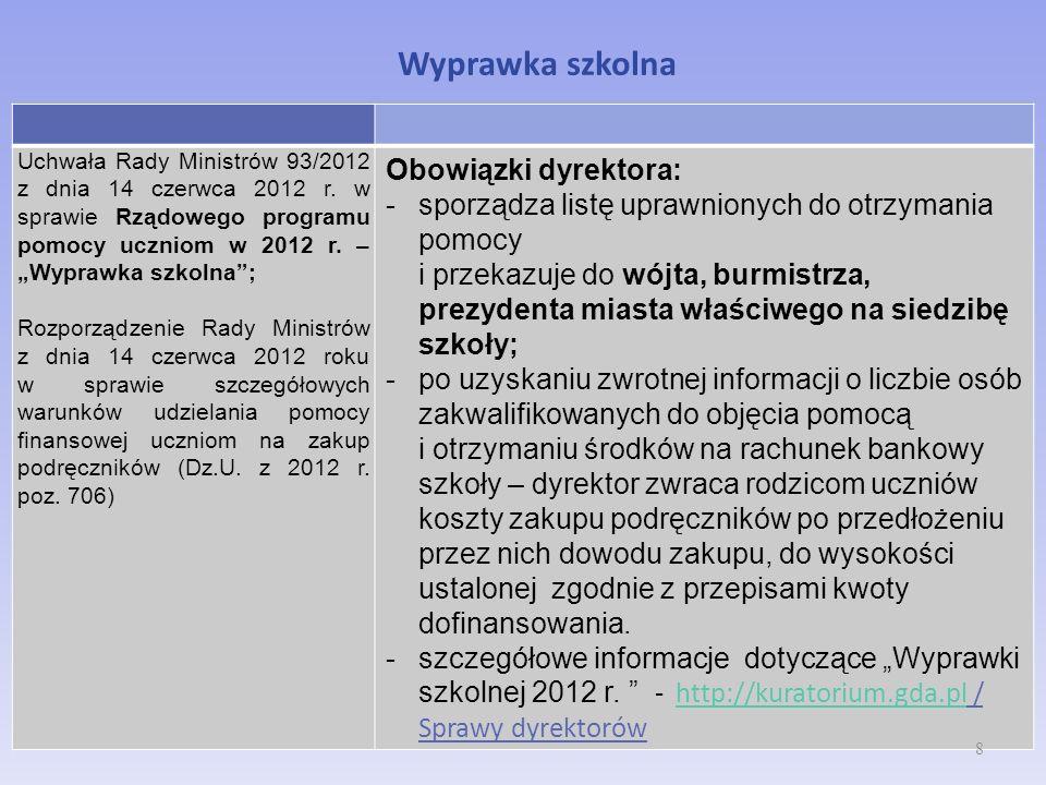 Wyprawka szkolna Uchwała Rady Ministrów 93/2012 z dnia 14 czerwca 2012 r. w sprawie Rządowego programu pomocy uczniom w 2012 r. – Wyprawka szkolna; Ro
