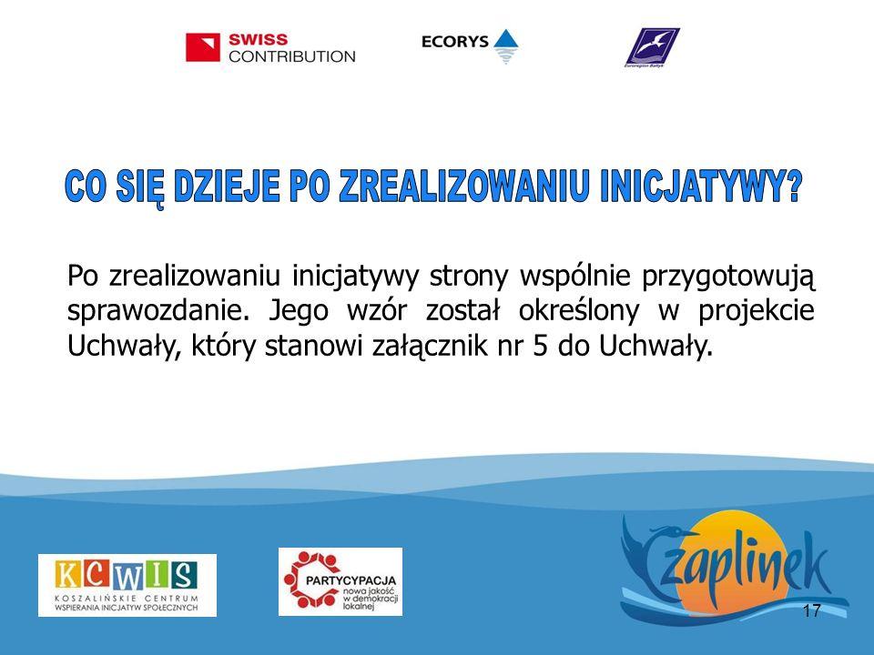17 Po zrealizowaniu inicjatywy strony wspólnie przygotowują sprawozdanie. Jego wzór został określony w projekcie Uchwały, który stanowi załącznik nr 5