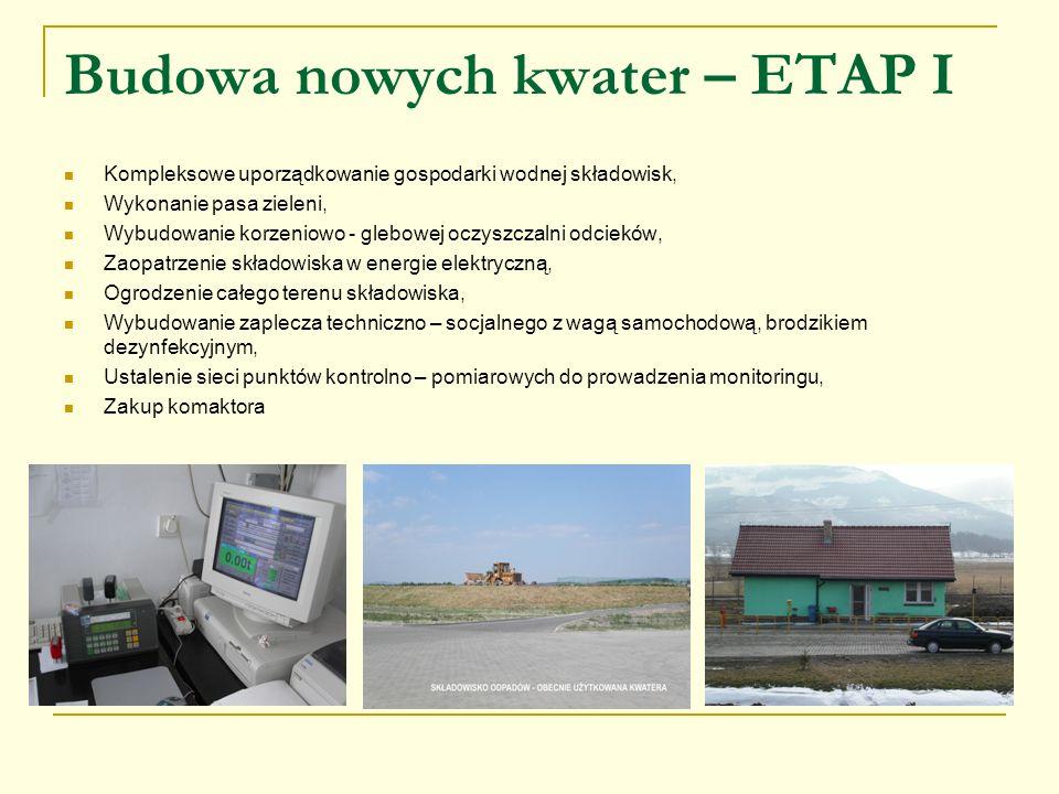 Budowa nowych kwater – ETAP I Kompleksowe uporządkowanie gospodarki wodnej składowisk, Wykonanie pasa zieleni, Wybudowanie korzeniowo - glebowej oczys