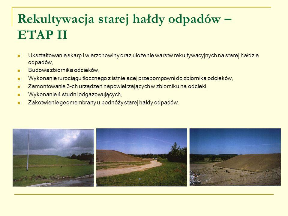 Rekultywacja starej hałdy odpadów – ETAP II Ukształtowanie skarp i wierzchowiny oraz ułożenie warstw rekultywacyjnych na starej hałdzie odpadów, Budow