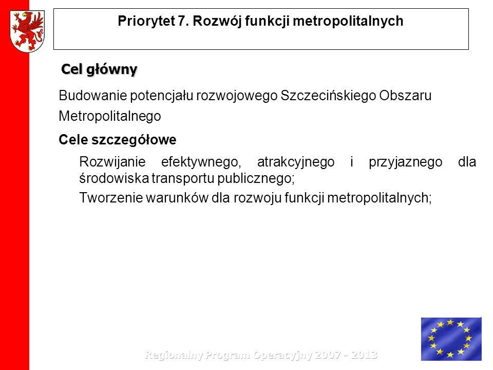 Priorytet 7. Rozwój funkcji metropolitalnych Cel główny Budowanie potencjału rozwojowego Szczecińskiego Obszaru Metropolitalnego Cele szczegółowe Rozw