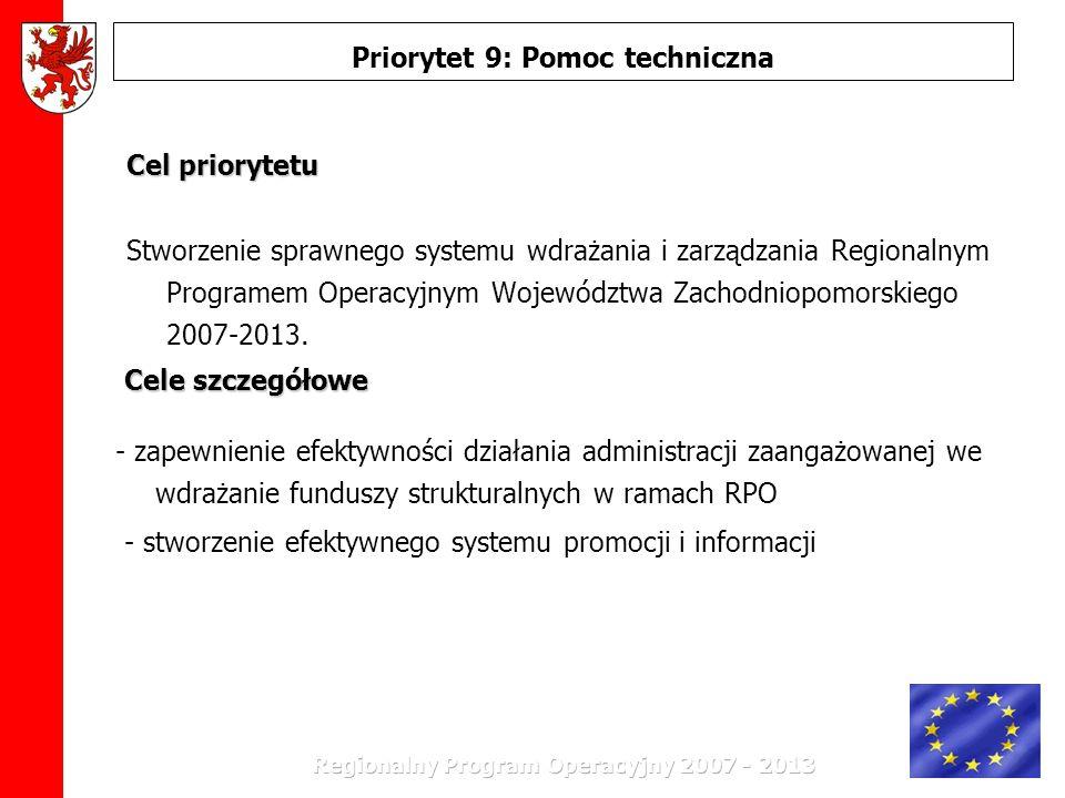Stworzenie sprawnego systemu wdrażania i zarządzania Regionalnym Programem Operacyjnym Województwa Zachodniopomorskiego 2007-2013. Priorytet 9: Pomoc