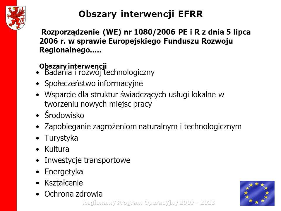 Obszary interwencji EFRR Badania i rozwój technologiczny Społeczeństwo informacyjne Wsparcie dla struktur świadczących usługi lokalne w tworzeniu nowy