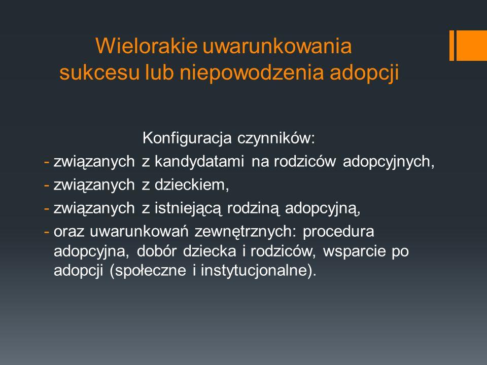 Czynniki związane z kandydatami na rodziców adopcyjnych Bezdzietność (akceptacja własnej bezdzietności, przepracowanie straty).