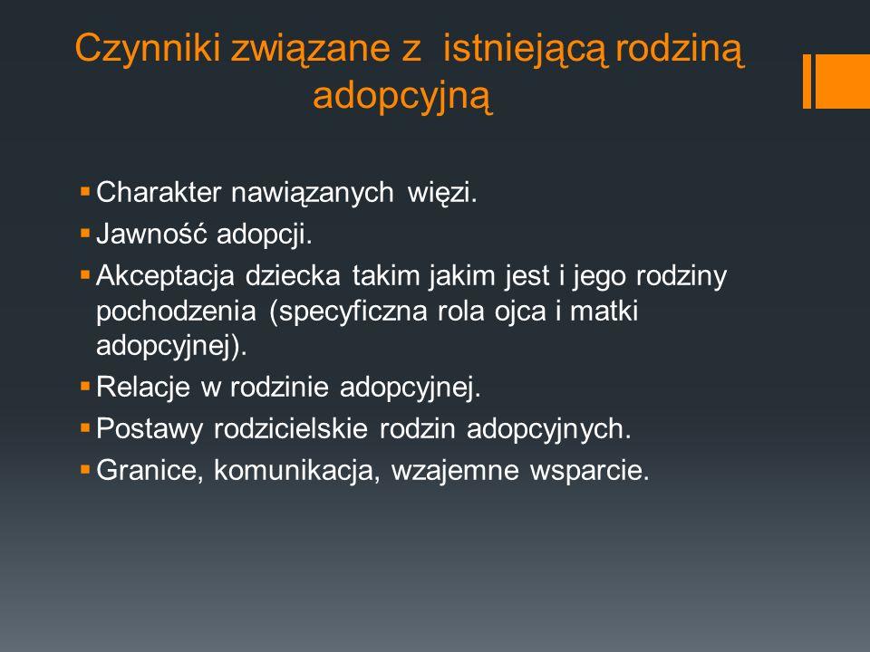 Inne uwarunkowania procesu adopcji Procedura adopcyjna – kryteria, właściwe przygotowanie kandydatów (szkolenie, wsparcie).
