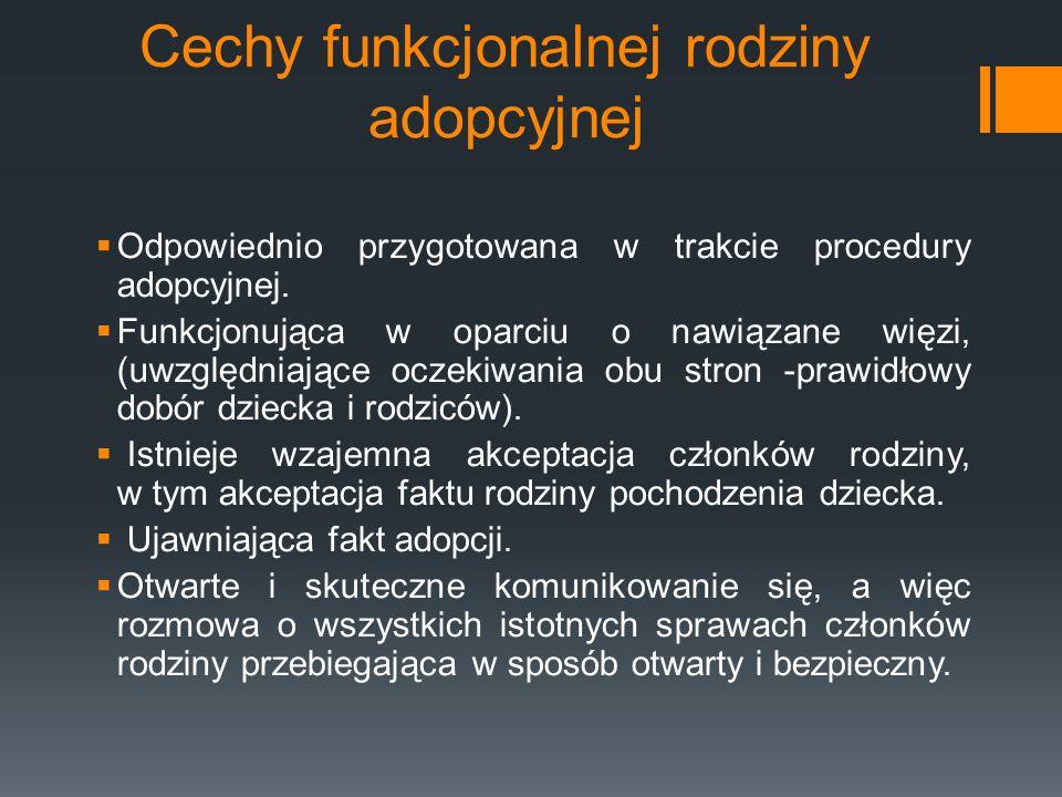 Cechy funkcjonalnej rodziny adopcyjnej Pozytywna tożsamość (samoakceptacja) i autonomia (prawo do własnego rozwoju) wszystkich członków rodziny.