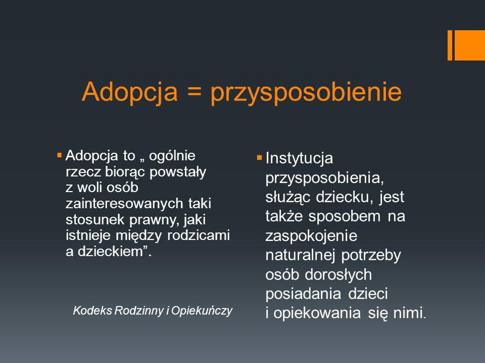 Obszary adopcji Sieroctwo społeczne + Bezdzietność/małodziet ność = adopcja RODZINA ADOPCYJNA