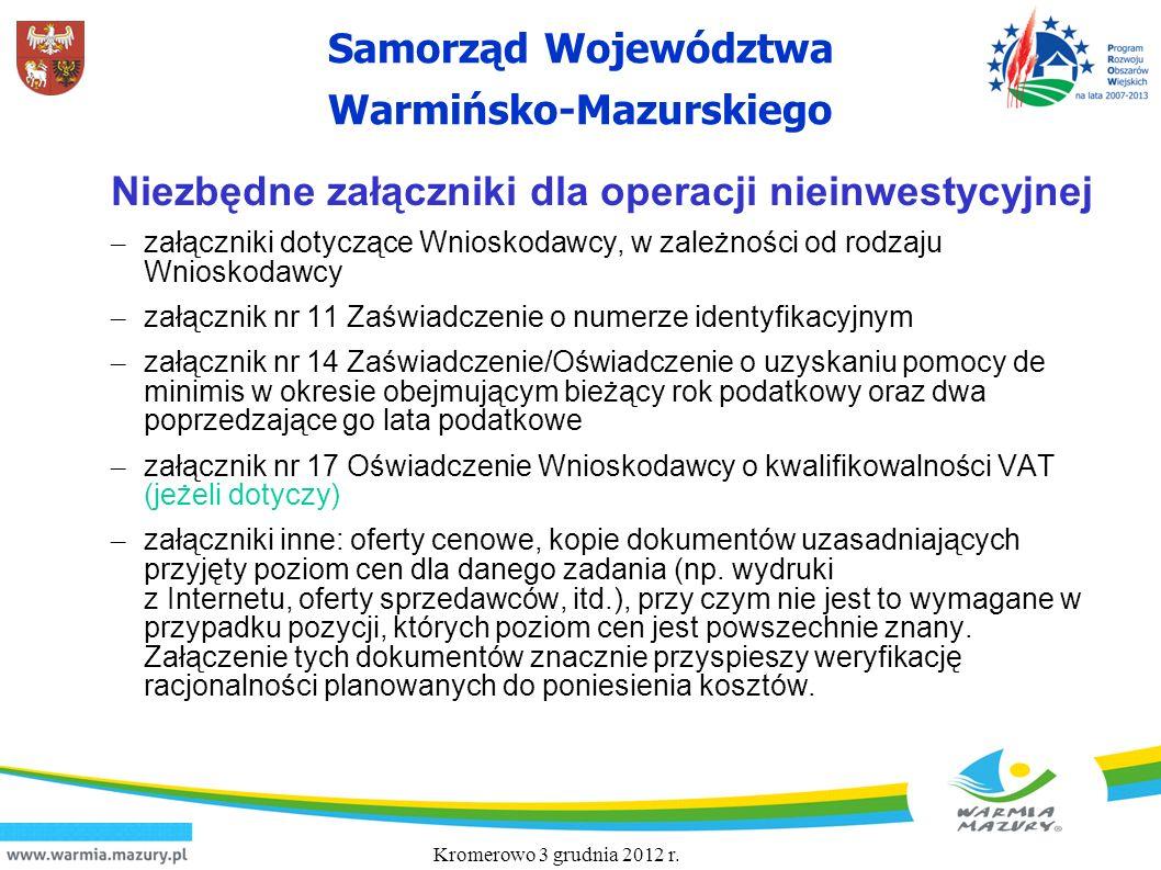 Samorząd Województwa Warmińsko-Mazurskiego Niezbędne załączniki dla operacji nieinwestycyjnej – załączniki dotyczące Wnioskodawcy, w zależności od rod