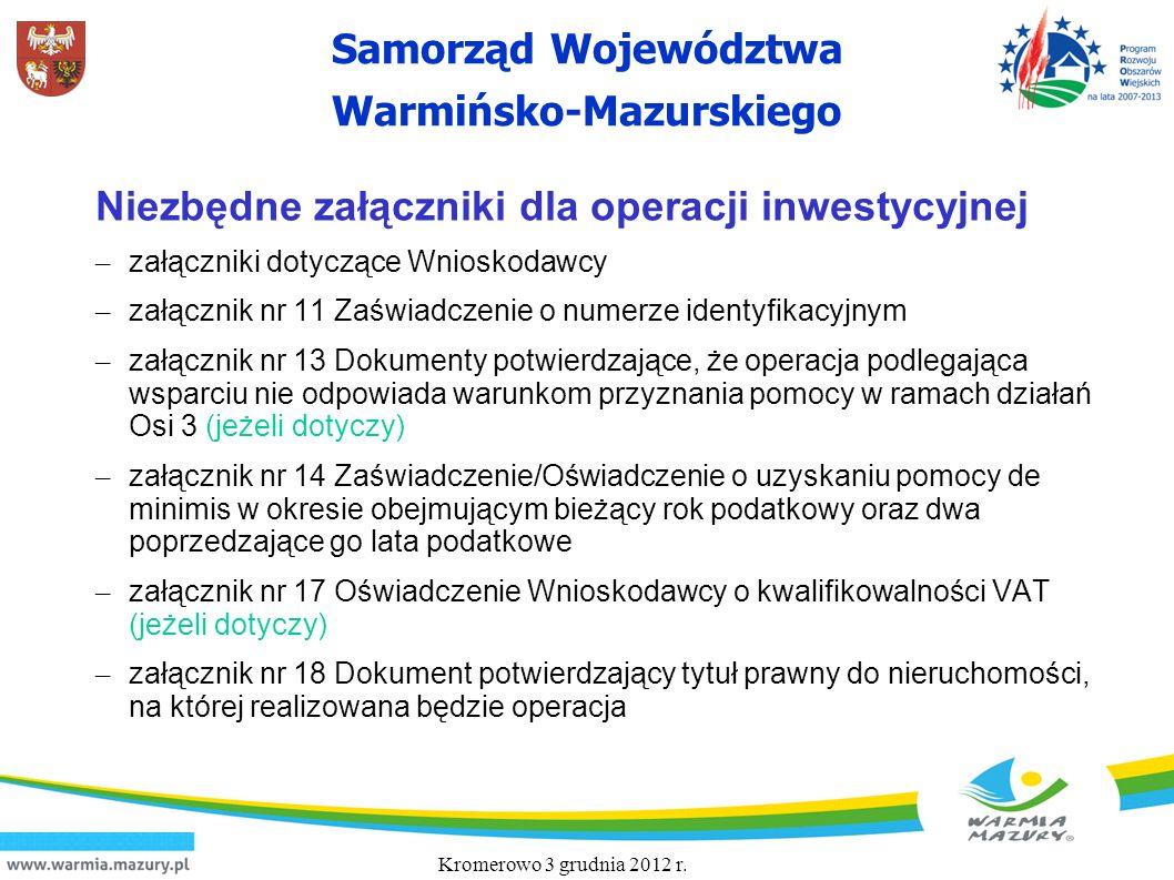 Samorząd Województwa Warmińsko-Mazurskiego Niezbędne załączniki dla operacji inwestycyjnej – załączniki dotyczące Wnioskodawcy – załącznik nr 11 Zaświ