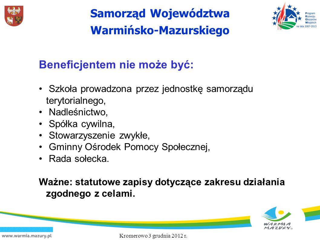 Samorząd Województwa Warmińsko-Mazurskiego Beneficjentem nie może być: Szkoła prowadzona przez jednostkę samorządu terytorialnego, Nadleśnictwo, Spółk