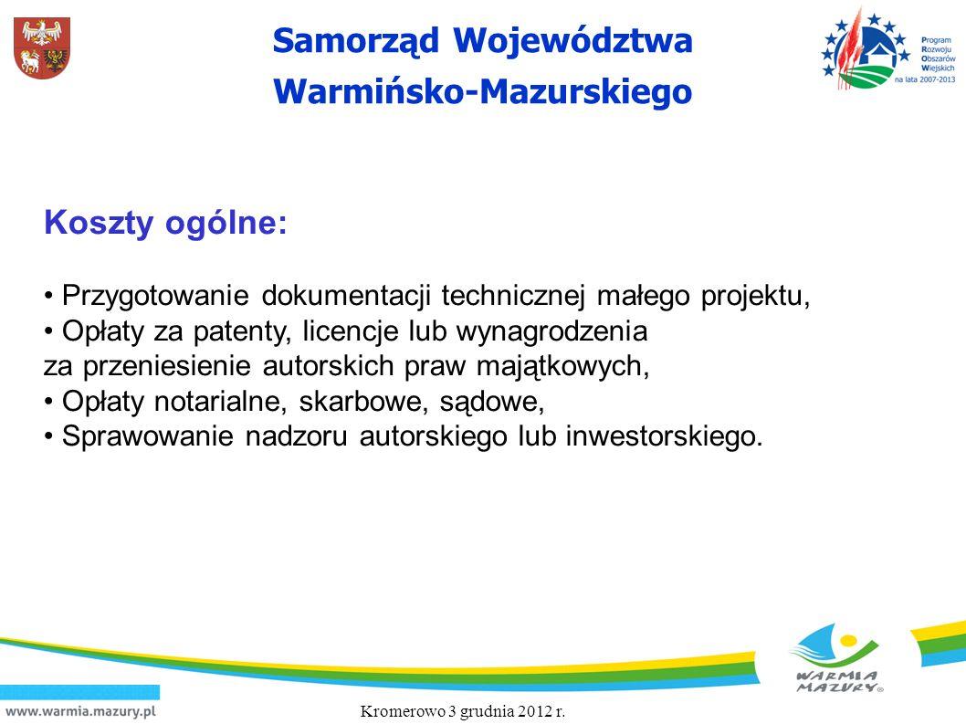 Samorząd Województwa Warmińsko-Mazurskiego Koszty ogólne: Przygotowanie dokumentacji technicznej małego projektu, Opłaty za patenty, licencje lub wyna
