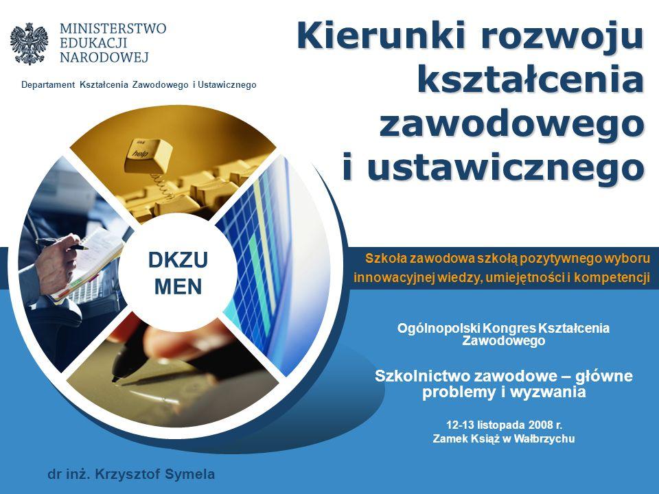 DKZU MEN Szkoła zawodowa szkołą pozytywnego wyboru, innowacyjnej wiedzy, umiejętności i kompetencji Uzasadnienie podjęcia zmian Projekty EFS (PO RZL, PO KL) Nowe podstawy kształcenia ogólnego Priorytety działania MEN – najważniejsza jakość Strategie rozwoju Potrzeby gospodarki i rynku pracy Kontekst polski