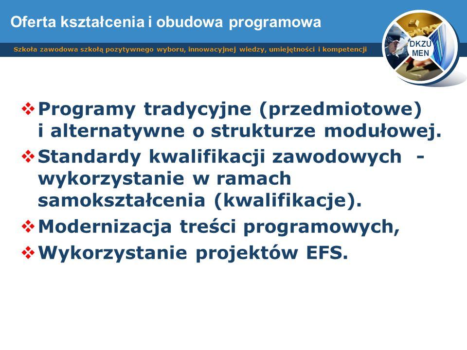 DKZU MEN Szkoła zawodowa szkołą pozytywnego wyboru, innowacyjnej wiedzy, umiejętności i kompetencji Programy tradycyjne (przedmiotowe) i alternatywne