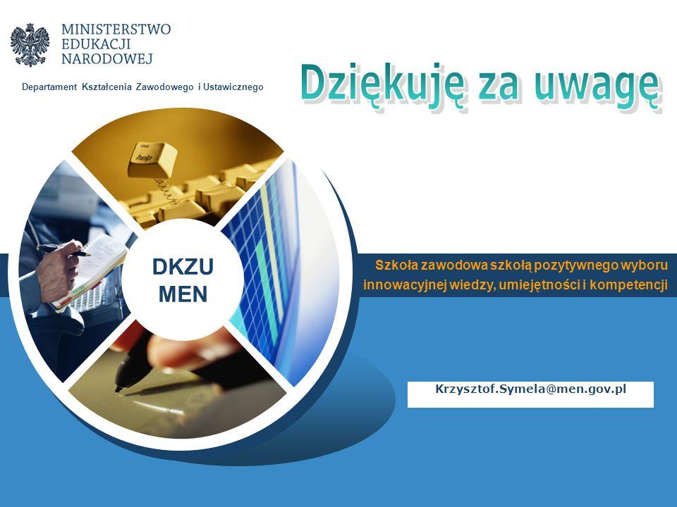 Szkoła zawodowa szkołą pozytywnego wyboru innowacyjnej wiedzy, umiejętności i kompetencji DKZU MEN Departament Kształcenia Zawodowego i Ustawicznego K