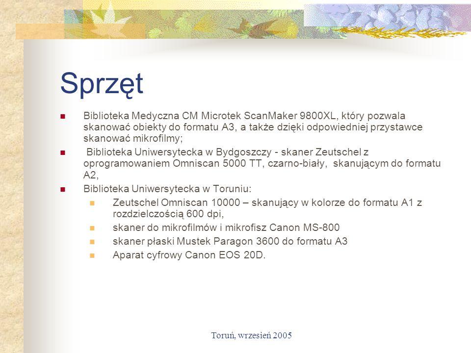 Toruń, wrzesień 2005 Sprzęt Biblioteka Medyczna CM Microtek ScanMaker 9800XL, który pozwala skanować obiekty do formatu A3, a także dzięki odpowiednie