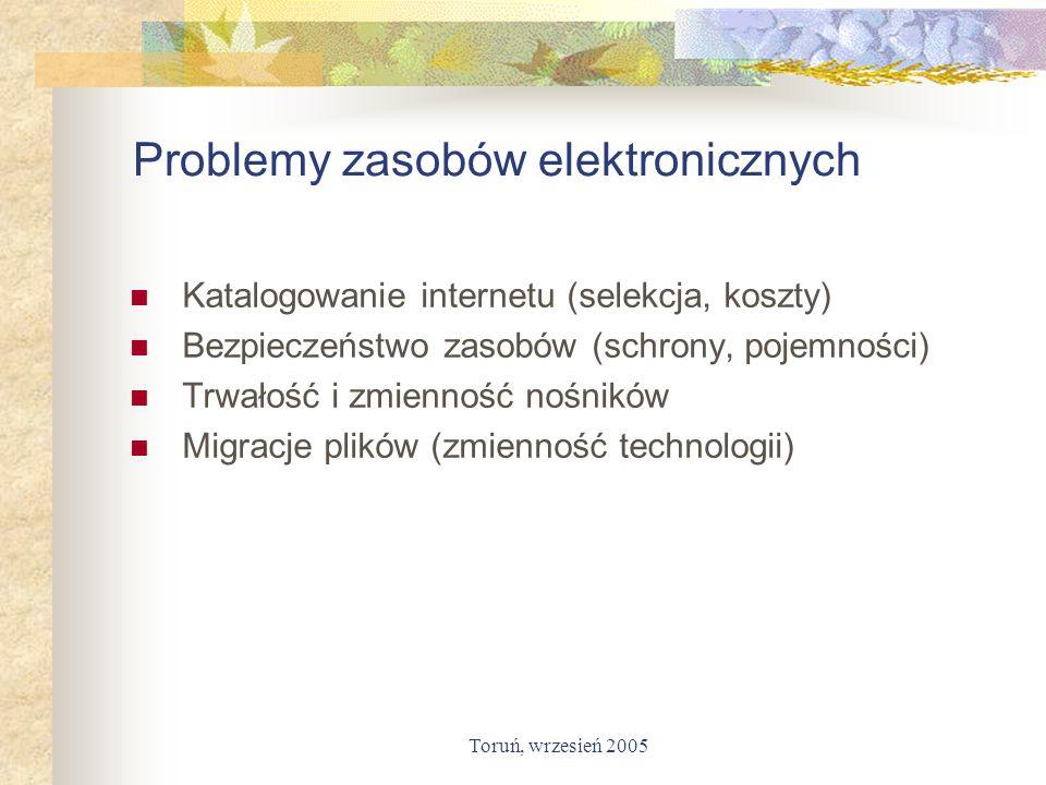 Toruń, wrzesień 2005 Problemy zasobów elektronicznych Katalogowanie internetu (selekcja, koszty) Bezpieczeństwo zasobów (schrony, pojemności) Trwałość