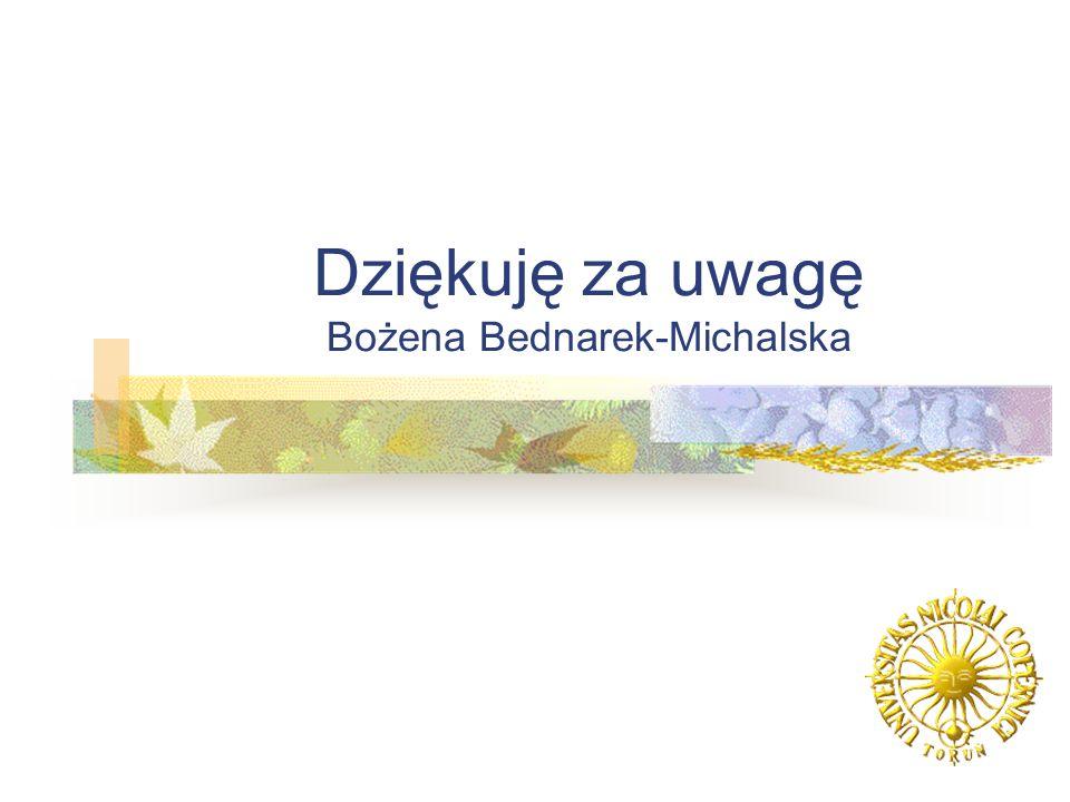 Dziękuję za uwagę Bożena Bednarek-Michalska