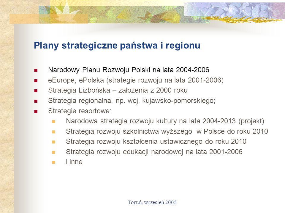 Toruń, wrzesień 2005 Plany strategiczne państwa i regionu Narodowy Planu Rozwoju Polski na lata 2004-2006 eEurope, ePolska (strategie rozwoju na lata