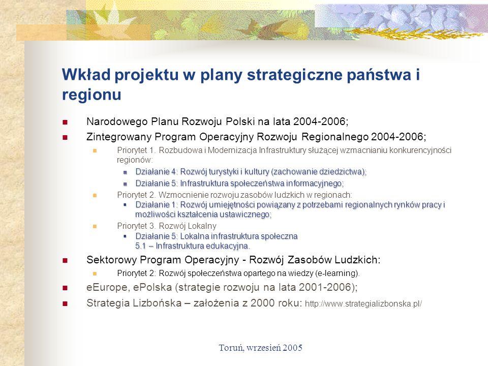 Toruń, wrzesień 2005 Wkład projektu w plany strategiczne państwa i regionu Narodowego Planu Rozwoju Polski na lata 2004-2006; Zintegrowany Program Ope