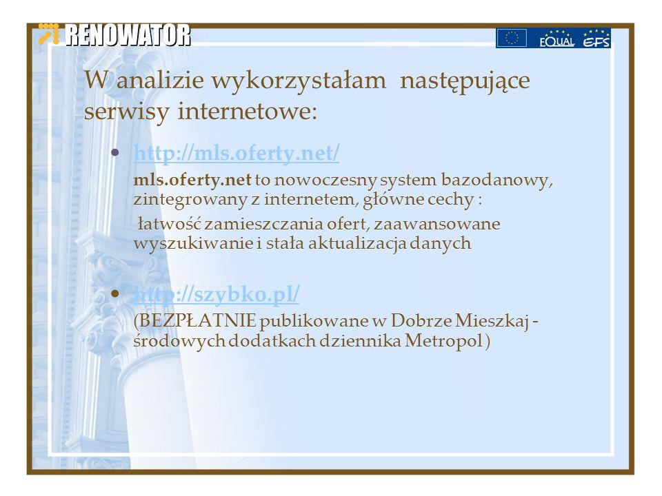 W analizie wykorzystałam następujące serwisy internetowe: http://mls.oferty.net/ mls.oferty.net to nowoczesny system bazodanowy, zintegrowany z intern