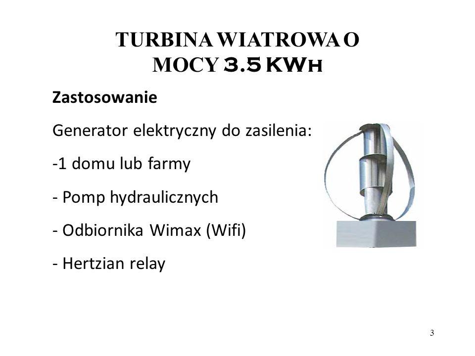 4 TURBINA WIATROWA 3.5 KWh Energia dla pomp hydraulicznych, domów, połączeń Wimax, bez konieczności podłączeń do sieci: 3.5 KW turbina wiatrowa, pracująca nominalnie 2.500 godz.